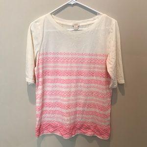 Jcrew neon pink tribal shirt